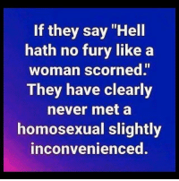 "Preach, Grindr, and Hell: If they say ""Hell  hath no fury like a  woman scorned""  They have clearly  never met a  homosexual slightly  inconvenienced. Preach it, @funkdaddy1997 🙌🏼"
