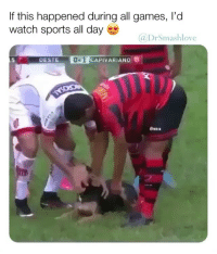 Memes, Omg, and Sports: If this happened during all games, I'd  watch sports all day  @DrSmashlove  5  OESTE  01  CAPIVARIANO OMG, @drsmashlove always posting the best Doggo videos.