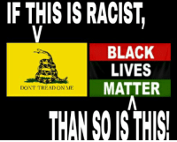 IF THIS IS RACIST  BLACK  LIVES  MATTER  DONT TREAD ON ME  THANS ISTHIS