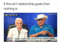 True lol: If this isn't relationship goals then  nothing is  drgrayfang  FORT WAYNE, IN  FOX  NEWS  ELDERLY COUPLE VISITS 644 OUT OF 645 CRACKER BARRELS  AMERICAS NEWS HQ True lol