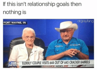 (@drgrayfang) need me a freak like this: If this isn't relationship goals then  nothing is  drgrayfang  FORT WAYNE, IN  FOX  EWS  ELDERLY COUPLE VISITS 644 OUT OF 645 CRACKER BARRELS  AMERICAS NEWS HQ (@drgrayfang) need me a freak like this