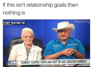 memehumor:  So Sweet: If this isn't relationship goals then  nothing is  drgrayfang  FORT WAYNE, IN  FOX  EW  ELDERLY COUPLE VISITS 644 OUT OF 645 CRACKER BARRELS  RICAS NEWS HQ  AME memehumor:  So Sweet