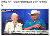 @bonkers4memes took me to the Cracker Barrel: If this isn't relationship goals then nothing  IS  FORT WAYNE, IN  FOX  EW  1:53 OT  ELDERLY COUPLE VISITS 644 OUT OF 645 CRACKER BARRELS  AMCAS NEWS HQ  ERI @bonkers4memes took me to the Cracker Barrel