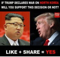 Yes or no?: IF TRUMP DECLARES WAR ON NORTH KOREA  WILL YOU SUPPORT THIS DECISION OR NOT?  DONALD  TRUMP  LIKE +  SHARE = YES Yes or no?