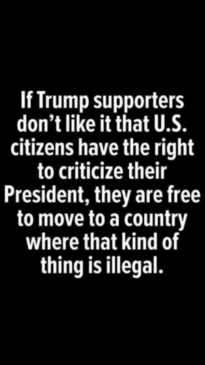 Supporters: If Trump supporters  don't like it that U.S.  citizens have the right  to criticize their  President, they are free  to move to a country  where that kind of  thing is illegal.