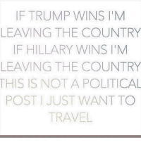 Memes, Travel, and 🤖: IF TRUMP WINS M  LEAVING THE COUNTRY  IF HILLARY WINS M  LEAVING THE COUNTRY  THIS IS NOT A POLITICAL  POST JUST WANT TO  TRAVEL