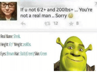 "Snapchat: DankMemesGang: If u not 6'2+ and 200lbs+  not a real man.. Sorry  You're  12  *8  Real Name: Shrek.  Height67"" Weight 2o8lbs  Eyes:Brown Hair. Bald(Green) Skin.Green Snapchat: DankMemesGang"