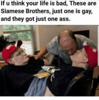 Ass, Bad, and Life: If u think your life is bad, These are  Siamese Brothers, just one is gay,  and they got just one ass. Tag his boyfriend 😂