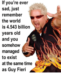 Guy Fieri: If vou're ever  sad, just  remember  the world  is 4.543 billion  years old  and you  Somehow  managed  to exist  at the same time  as Guy Fieri