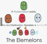 This Makes Sense: If Watermelon  exists,  hy don't Earthmelon, Firemelon, &  Airmelor?  The Elemelons This Makes Sense