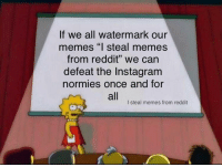 "Spread the word (credit to u/ot49): If we all watermark our  memes ""l steal memes  from reddit"" we can  defeat the Instagram  normies once and for  all  I steal memes from reddit Spread the word (credit to u/ot49)"