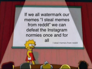 "Spread the word (credit to u/ot49) by whiskers1315 MORE MEMES: If we all watermark our  memes ""l steal memes  from reddit"" we can  defeat the Instagram  normies once and for  all  I steal memes from reddit Spread the word (credit to u/ot49) by whiskers1315 MORE MEMES"