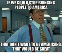 America, Funny, and Memes: IF WE COULD STOP BRINGING  PEOPLE TO AMERICA  THAT DON'T WANT TO BE AMERICANS  THAT WOULD BE GREAT Imagine a country full of patriots liberal Trump MAGA PresidentTrump NotMyPresident USA theredpill nothingleft conservative republican libtard regressiveleft makeamericagreatagain DonaldTrump mypresident buildthewall memes funny politics rightwing blm snowflakes