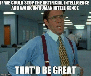 Yeah: IF WE COULD STOP THE ARTIFICIAL INTELLIGENCE  AND WORKON HUMAN INTELLIGENCE  THATD BE GREAD  imgflip.com Yeah