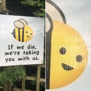 Bee, You, and More: If we die,  we're taking  you with us. We should BEE more careful
