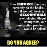 Books, Memes, and Business: If we ENFORCE the laws  currently on the books...  and if we held business  ACCOUNTABLE  for employing illegal  immigrants, our  immigration problems  would be solved  Senator Tom Cotton  DO YOU AGREE? Agree?