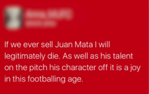 memehumor:  When your life support system is only linked up when a certain footballer plays for your favourite team: If we ever sell Juan Mata I will  legitimately die. As well as his talent  on the pitch his character off it is a joy  in this footballing age. memehumor:  When your life support system is only linked up when a certain footballer plays for your favourite team