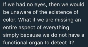 Daredevil, Color, and Organ: If we had no eyes, then we would  be unaware of the existence of  color. What if we are missing an  entire aspect of everything  simply because we do not have a  functional organ to detect it? If I had no eyes Id become Daredevil