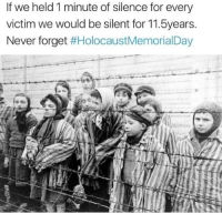 holocaustmemorialday ~N noelletheadmin: If we held 1 minute of silence for every  victim we would be silent for 11.5years.  Never forget  #Holocaust Memorial Day holocaustmemorialday ~N noelletheadmin