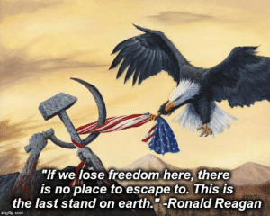 """Freedom is exclusive to the US!: """"If we lose freedom here, there  is no place to escape to. This is  the last stand on earth.""""-Ronald Reagan  EAN2O  imgflip.com Freedom is exclusive to the US!"""