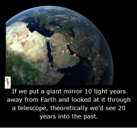 telescopes: If we put a giant mirror 10 light years  away from Earth and looked at it through  a telescope, theoretically we'd see 20  years into the past.