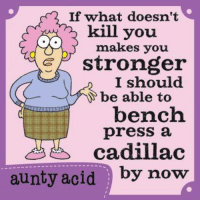 Memes, Cadillac, and Bench Pressed: If what doesn't  kill you.  makes you  G stronger  I should  be able to  bench  press a  cadillac  aunty acid by now