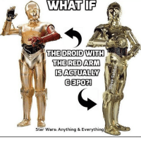 This is CRAZY! He's R8-F7 Admin: Finn, SWHub: IF  WHAT IF  THE DROID WITH  THE RED ARM  IS ACTUALLY  C-3PO?  Star Wars: Anything & Everything This is CRAZY! He's R8-F7 Admin: Finn, SWHub