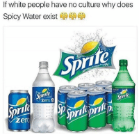 Memes, White People, and Zero: If white people have no culture why does  Spicy Water exist  Sprite  Sprite  zero White people are the superior
