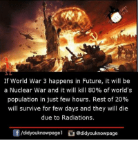world war 3: If World War 3 happens in Future, it will be  a Nuclear war and it will kill 80% of world's  population in just few hours. Rest of 20%  will survive for few days and they will die  due to Radiations.  /didyouknowpage1@didyouknowpage