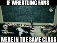 Funny, Love, and Memes: IF WRESTLING FANS  STILL  PUNK!  CMPUNK!  WHAT?!  PUNK!  WHAT  CM PUNK!  WERE IN THE SAME CLASS I was gonna put the ECW chants but as a former ECW fan...i know we never went to class... wwe wwememes raw sdlive wrestling funny like follow share njpw roh love laugh haha memes jokes likes nxt dankmemes ig