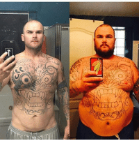 Dude, Fire, and Goals: If y'all need some weight loss inspiration go slide by @vegainz_inkd and check his page dude is on fire! respect picoftheday bestoftheday photooftheday igers makeup quotes gym obesetobeast goals fitspo smile chef ink mondaymotivation transformationtuesday tatted bodytransformation muscle gains getfit beforeandafter fitnessaddict sweat weightlossstory diet tattoo fatloss nutrition nevergiveup