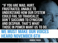 "Fail, Power, and Mad: ""IF YOU ARE MAD, HURT,  FRUSTRATED, UNABLE TO  UNDERSTAND HOW OUR SYSTEM  COULD FAIL SO TRAGICALLY,  DON'T SUCCUMB TO CYNICISM  AND DESPAIR. THAT'S WHAT  THOSE IN POWER WANT US TO DO.  WE MUST MAKE OUR VOICES  HEARD NOVEMBER 6TH  -ROBERT REICH"