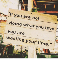 Love, Time, and You: If you are not  doing what you love,  you are  wasting your time.""