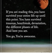 Life, Memes, and Awesome: If you are reading this, you have  survived your entire life up until  this point. You have survived  traumas, heartbreak, devastation,  the different phases of life.  And here you are.  You go, You're awesome. If you are reading this, you have survived your entire life up until this point. You have survived traumas, heartbreak, devastation, the different phases of life. And here you are. You go, You're awesome. powerofpositivity