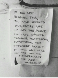 "Life, Awesome, and Reading: IF YoU ARE  READING THIS,  you HAVE SURVİVED  YoUR ENTIRE LIFE  UP UNTL THIS PoINT  YOU HAVE ""SURVIVED  TRAUMAS, HEARTBREAK  DEVASTATION, THE  DIFFERENT PHASES  oF LIFE. AND HERE  JoU ARE. You Go,  MOTHERFUCKER  YOU ARE  AWESOME"