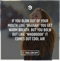 "9gag, Memes, and Cool: IF YOU BLOW OUT OF YOUR  MOUTH LIKE ""HAAAAH"" YOU GET  WARM BREATH. BUT YOU BOLVW  OUT LIKE ""WHO0000H"" IT  COMES OUT COOL AR  Q 9GAG.COM/APP Top 10 questions scientists still can't answer today. Follow @9gag"