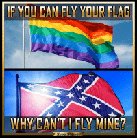 America, Memes, and Patriotic: IF YOU CAN FLY YOUR FLAG  WHY CANT I FLY MINE?  Bein  Patiotic It drives me so mad that liberals think the First Amendment only works when they want it! patriots americanpatriots politics conservative libertarian patriotic republican usa america americaproud peace nowar wethepeople patriot republican freedom secondamendment MAGA PresidentTrump