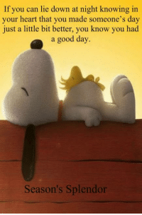 Memes, Good, and Heart: If you can lie down at night knowing in  your heart that you made someone's day  just a little bit better, you know you had  a good day.  Season's Splendor