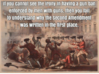 "Common. Sense. Is. Not. Very. Common.  Other wise they would call it ""stupid gun reform legislation"".: If you cannot see the irony in having a gun ban  enforced by men with guns  then you fail  to understand why the Second Amendment  Was Written in the first place. Common. Sense. Is. Not. Very. Common.  Other wise they would call it ""stupid gun reform legislation""."