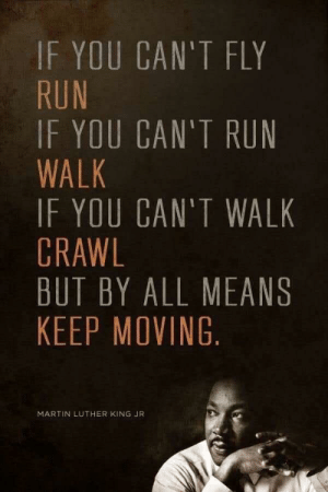 God, Martin, and Martin Luther King Jr.: IF YOU CAN'T FLY  RUN  IF YOU CAN'T RUN  WALK  IF YOU CAN'T WALK  CRAWL  BUT BY ALL MEANS  KEEP MOVING  MARTIN LUTHER KING JR [image] i apologise if this has been posted before, but still a really god damn good quote.