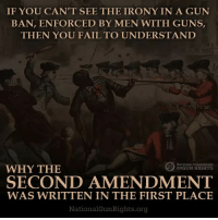 PASS THIS ON!: IF YOU CAN'T SEE THE IRONY IN A GUN  BAN, ENFORCED BY MEN WITH GUNS  THEN YOU FAIL TO UNDERSTAND  SOCIATION  WHY THE  EORGUN RIGHTS  SECOND AMENDMENT  WAS WRITTEN IN THE FIRST PLACE  National Gun Rights org PASS THIS ON!