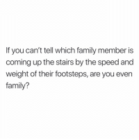 Family, Memes, and 🤖: If you can't tell which family member is  coming up the stairs by the speed and  weight of their footsteps, are you even  family? Hah