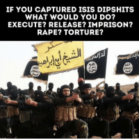 Isis, Memes, and Best: IF YOU CAPTURED ISIS DIPSHITS  WHAT WOULD YOU DO?  EXECUTE? RELEASE? IMPRISON?  RAPE? TORTURE? Please Do Go Into Detail On What You Would Do. I Like Reading Best Gore Comments 😎 - - - 🇺🇸 @war.footage 👈
