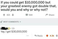 Best, Humans of Tumblr, and Best Comments: If you could get $10,000,000 but  your greatest enemy got double that  would you and why or why not?  T 821  544  Share  BEST COMMENTS  .11h  Yay, I get $30,000,000  Reply 4.3k