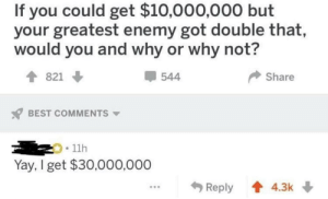 Dank, Memes, and Target: If you could get $10,000,000 but  your greatest enemy got double that,  would you and why or why not?  821  544  Share  BEST COMMENTS  11h  Yay, I get $30,000,000  Reply 4.3k Me_irl by MussoIiniTorteIIini MORE MEMES