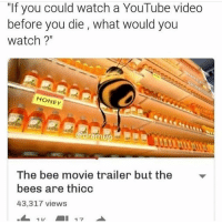 """Bee Movie, Funny, and Rams: """"If you could watch a YouTube video  before you die what would you  watch?""""  HONEY  ram  The bee movie trailer but the  bees are thicc  43,317 views  17 😍👌👌😂😂"""