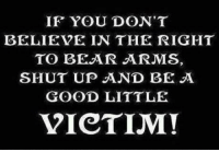 IF YOU DON'T  BELIEVE IN THE RIGHT  TO BEAR ARMS  SHUT UP AND BE A  GOOD LITTLE  VICTIM!