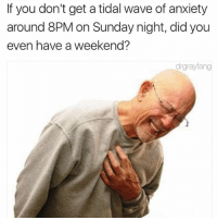 Tidal, Anxiety, and Sunday: If you don't get a tidal wave of anxiety  around 8PM on Sunday night, did you  even have a weekend?  drgrayfang We're all fucked @drgrayfang