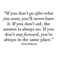 "Memes, Don't Ask, Don't Tell, and Never: ""If you don't go after what  you want, you'll never have  it. If you don't ask, the  answer is always no. If you  don't step forward, you're  always in the same place  Nora Roberts"