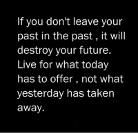 Future, Taken, and Live: If you don't leave your  past in the past, it will  destroy your future  Live for what today  has to offer, not what  yesterday has taken  away.